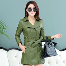 2018秋冬新款韩版中长款PU皮衣外套大码女装修身显瘦西服领皮风衣