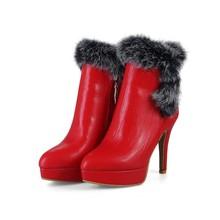 速卖通18外贸秋冬新款pu小圆头侧拉链防水台兔毛细高跟女大码短靴