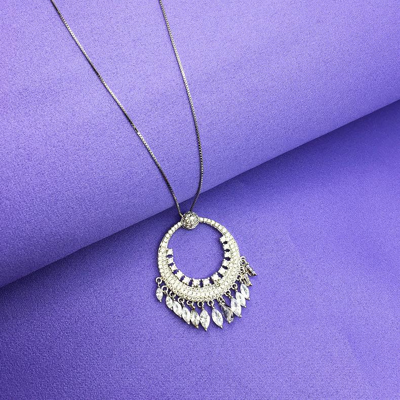 欧美大牌简约气质圆形马眼流苏项链锆石锁骨链高档饰品一件代发