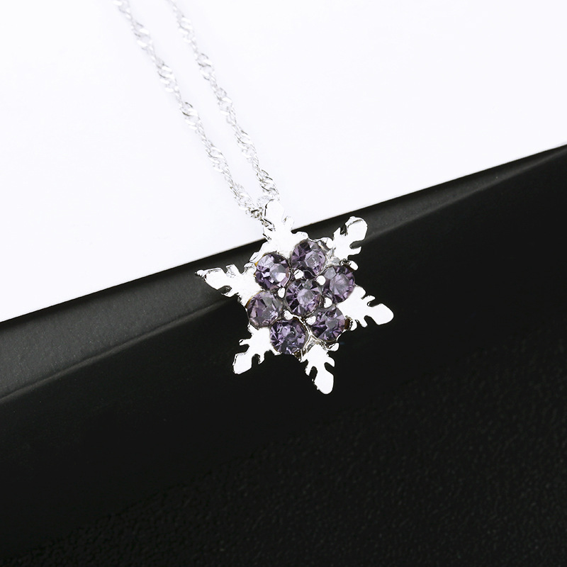 Temperament natural gemstone silver plated snowflake full diamond necklace NHDP150095