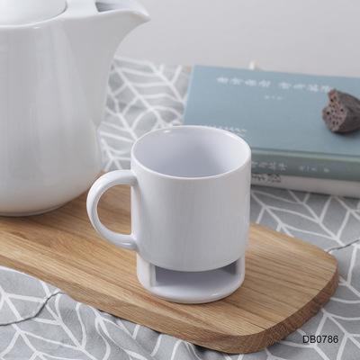 白色创意陶瓷杯定制logo 纯色早餐牛奶饼干杯 卡通咖啡马克杯陶瓷