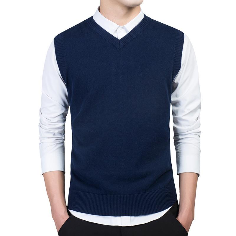 男装新品男士毛衣厂家直销棉针织背心V领毛衫无袖套头马甲批发