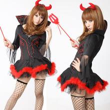 黑色萬聖節服裝女巫裝惡魔裝小魔女女王裝哥特制服派對夜店演出服