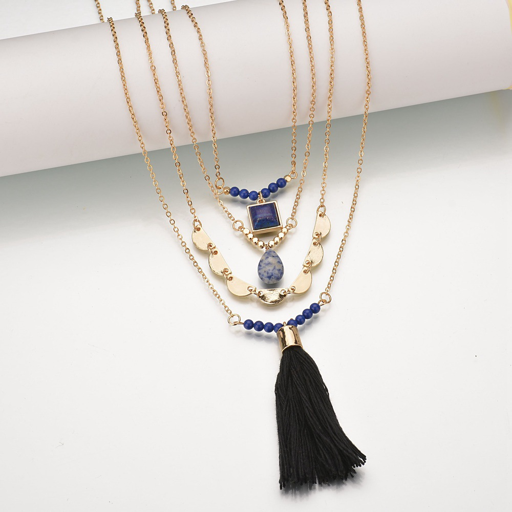 Occident and the United States alloy plating necklace (blue)NHBQ1028-blue
