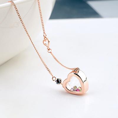 韩版时尚流行新款 精致透明水晶流沙心形吊坠项链 义乌饰品61723