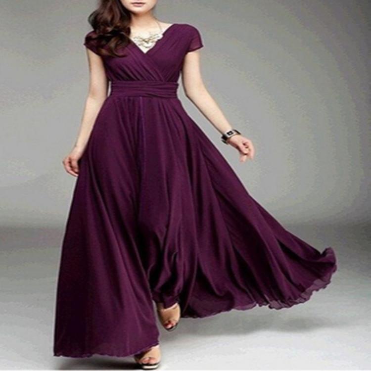 ebay速卖通2017爆款 夏季新款V领短袖波西米亚风收腰连衣裙 长裙