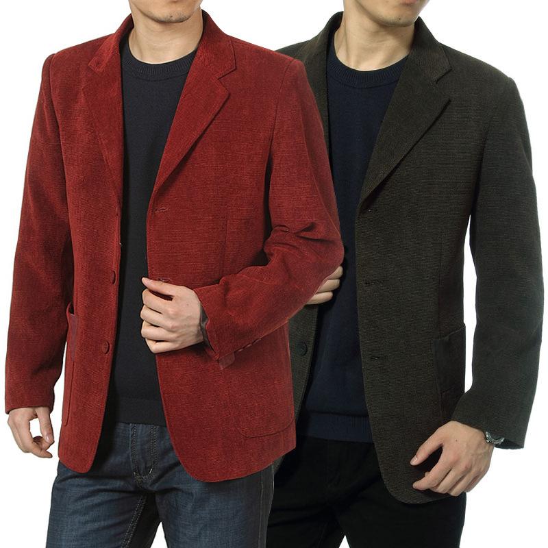 一件代发春秋季中老年男装便装西服灯芯绒休闲西装外套大码爸爸装