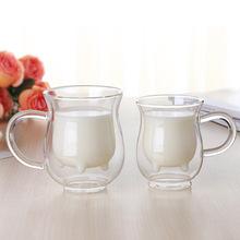 通用创意保温牛奶杯不规则形状阿凡提牛奶杯精致双层透明玻璃杯