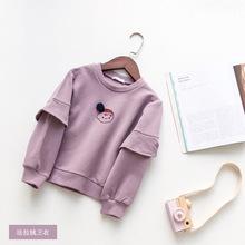 2017童装秋冬款韩版女童卫衣  法拉绒小女孩图案套头卫衣C259