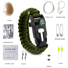 Hot survival whistle, fire rod, umbrella rope bracelet, multifunctional precision compass tool bag bracelet