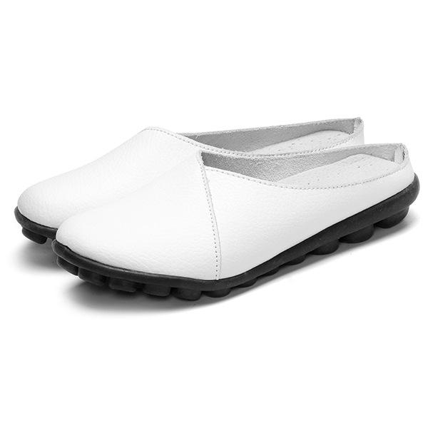 新款拖鞋女夏外穿真皮平跟女士百搭透气平底包头半拖鞋子大码女鞋