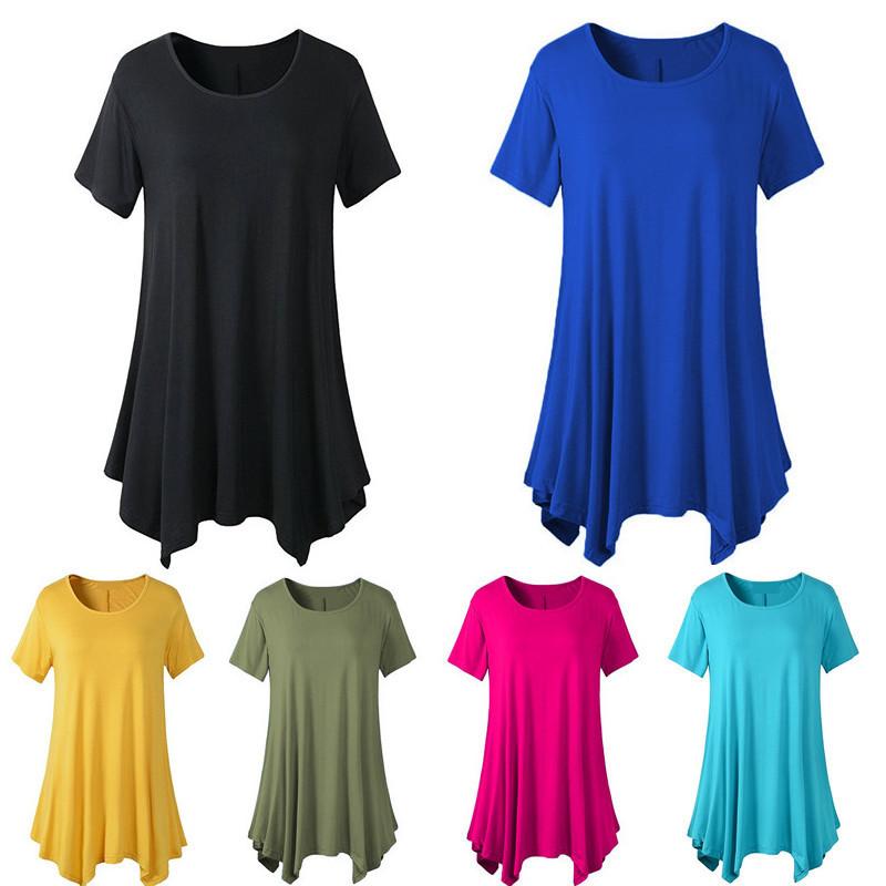 亚马逊eBay欧美跨境大码女装中长款短袖T恤宽松圆领纯色打底衫