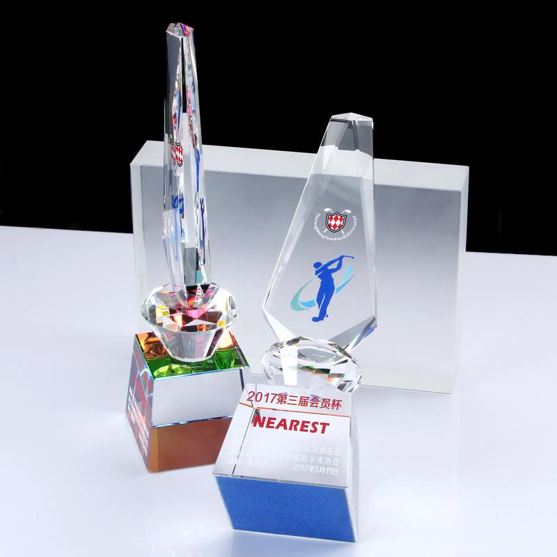 玻璃水晶高档奖杯 高尔夫高球运动会比赛退伍军人纪念品图2