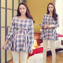 wzy大码装春装新款韩版时尚格子系带女装连衣裙中长款长袖孕妇裙
