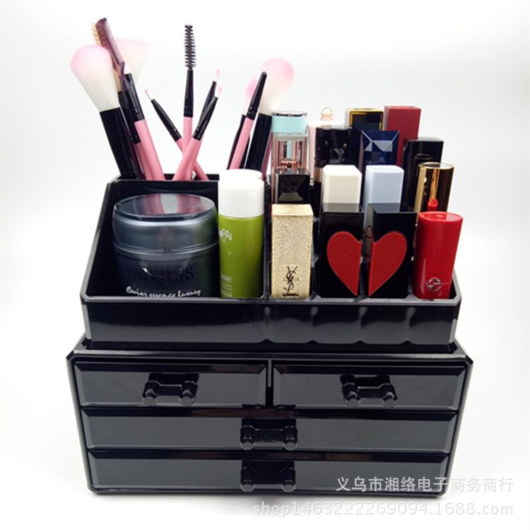صندوق تخزين مستحضرات التجميل بأدراج متعددة الطبقات من الأكريليك الشفاف على الطراز الكوري