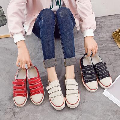 小白鞋女秋季2017新款潮流百搭韩版魔术贴休闲板鞋真皮平底鞋单鞋