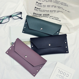 New wallet fashion PU wallet solid color large banknote clip lock buckle hand bag instead of hair