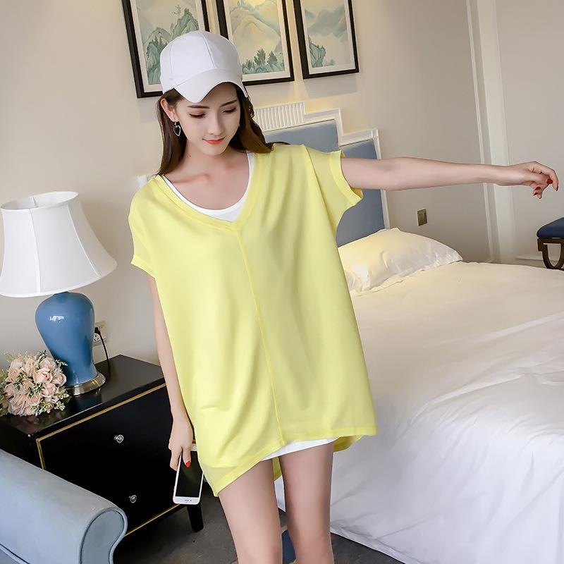 韩版夏季新款V领套头短袖女式T恤 宽松显瘦T恤纯色 打底衫上衣女
