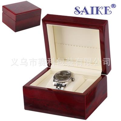现货批发高光喷漆单只手表盒子高档单只装实木喷漆手表男女双表盒
