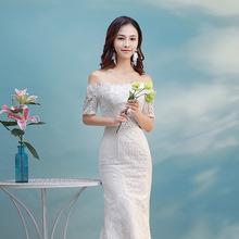 新款欧美修身显瘦礼服 时尚新娘婚纱 一字肩中袖蕾丝鱼尾裙婚纱