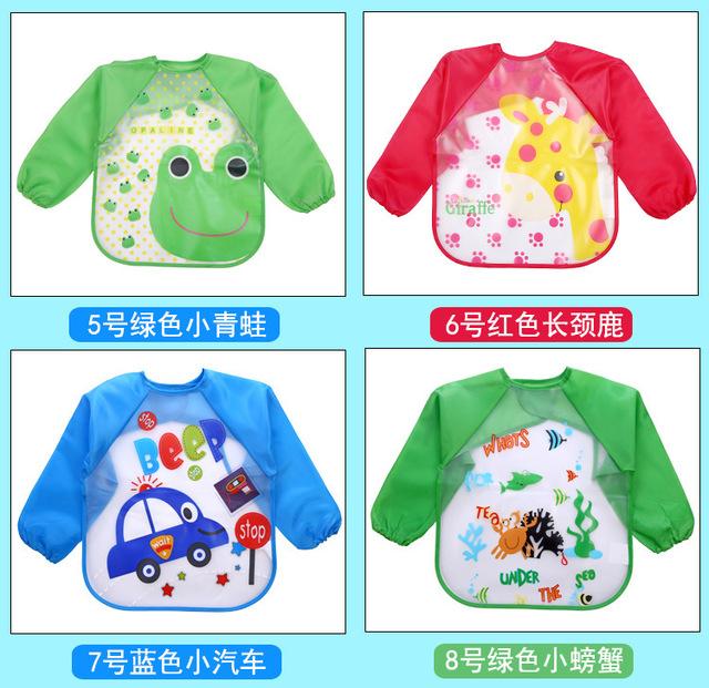 Trẻ sơ sinh tay dài chống thấm nước chống thấm eva smock bé ăn quần áo yếm có thể giặt được sơn DT-2009 Áo choàng