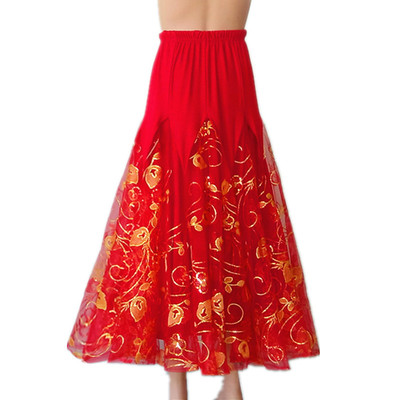 Ballroom dance skirts for women Modern dance dress red big swing skirt National Standard Dance skirts Waltz initial competition performance skirt