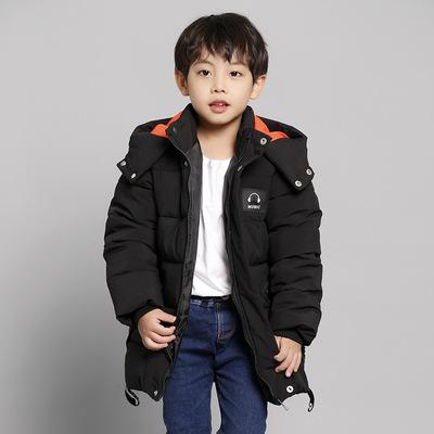 宁可缘冬季新款简约男童棉衣外套纯色儿童中长版棉服加厚男女童棉