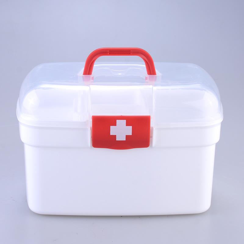 家庭批发药箱 大号塑料收纳药箱手提家庭用药箱药箱定制印LOGO