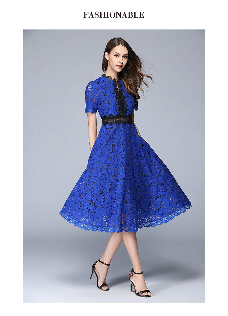 Lace Hollow Out A-line Elegant Office Dress