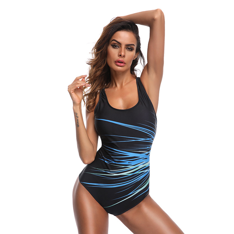 Polyester FashionLarge size swimsuit(Blue bar - L) NHXJ0139-Blue bar - L