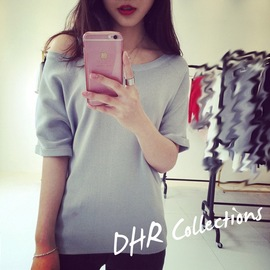 Summer Bat Knit Shirt Women's Short Sleeve Loose Large Size Thin Slant Shoulder Strap Sexy One-Piece Top T-Shirt
