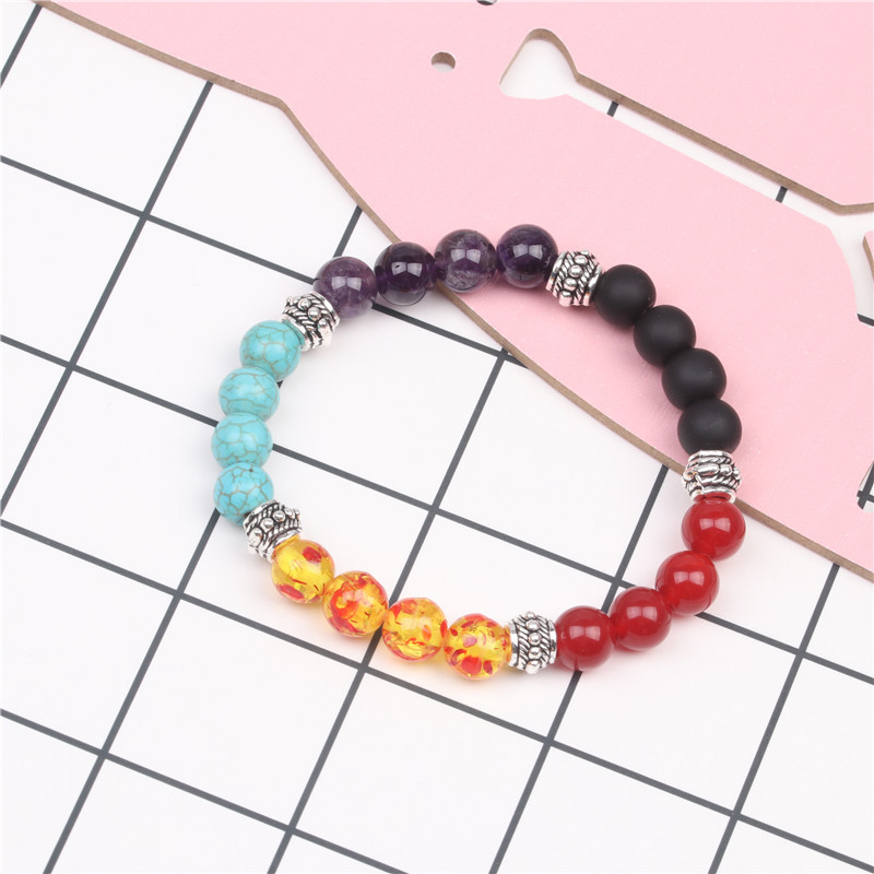 Ancient silver natural stone agate crystal colorful bracelet seven chakra yoga energy beaded bracelet NHYL183923