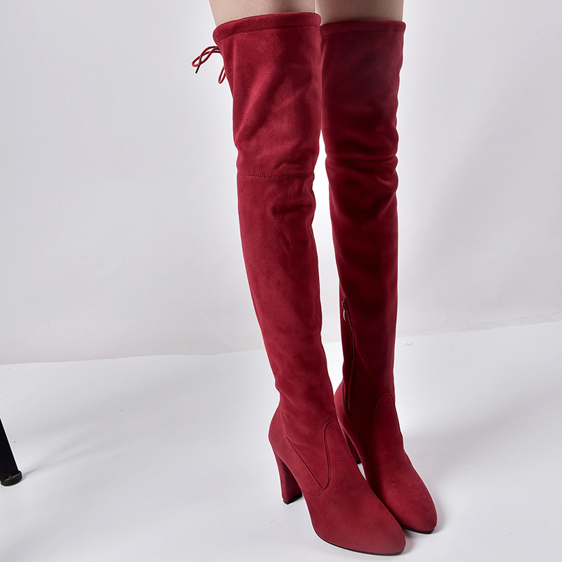 Women's warm boots 2019 autumn and winter new pointed thick with side zipper over the knee boots elastic boots women's shoes