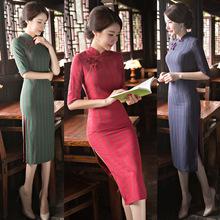 旗袍中长款中袖2020春夏新款复古改良棉质双层日常格子旗袍连衣裙
