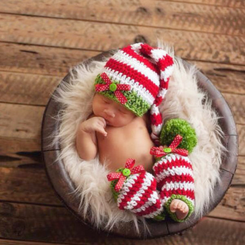 2019 Crochet Lovely Long Tail Cap Photography Props Design Baby Sock