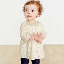 歐美風格品牌童裝秋季新款兒童t恤純棉梭織碎花長袖女童t恤純棉童