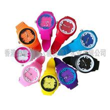 新款圆形硅胶手表花形字面糖果色炫彩防水石英礼品手表定制批发