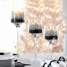 欧式优雅高脚杯玻璃罩防风香薰蜡烛烛台生日婚庆浪漫道具装饰摆件