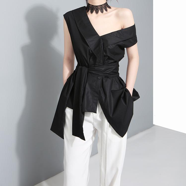 2020春夏韩版小众设计袖子绑带大蝴蝶结不规则斜肩衬衫女 上衣279