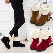 2020冬季新款女棉靴蝴蝶结两穿低跟中筒靴女加绒保暖雪地靴女靴潮