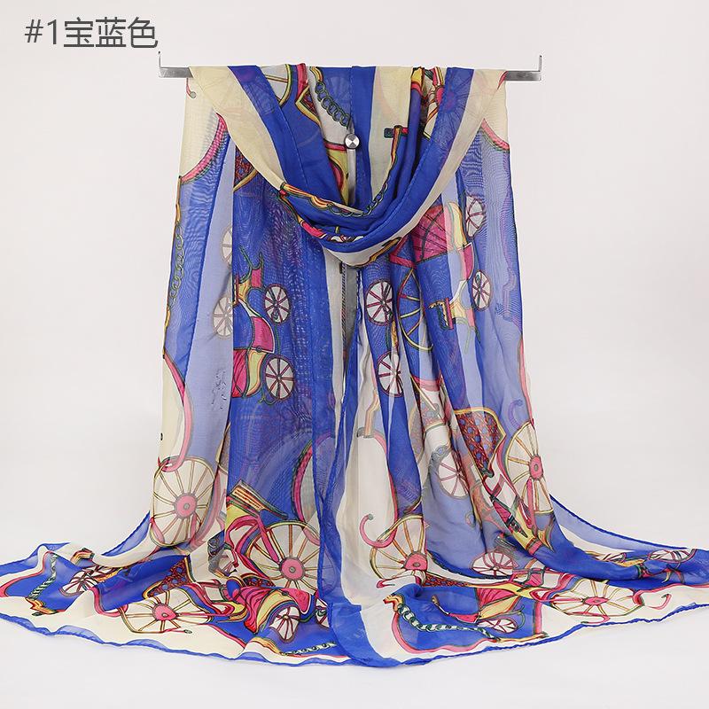 跨境货源新款女士印花丝巾锁链马车车轮 雪纺披肩两用中长围巾女