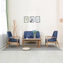 韩式双人软包沙发 客厅卧室家用实木沙发 简约休闲时尚