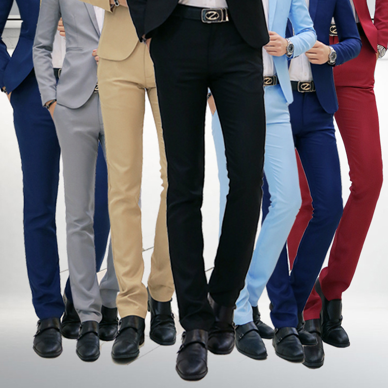 Spring and autumn new casual men's casual business trousers men's Korean version of youth loose solid color casual pants trousers