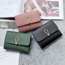 批发新款韩版女士钱包时尚简约暗扣短款二折拉链袋钱夹卡包零钱包