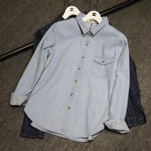 外贸原单春秋牛仔衬衫大码女装长袖外套韩版口袋牛仔衬衣开衫上衣
