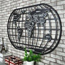 loft世界地图壁挂 复古工业铁艺壁饰 酒吧网咖墙面创意地图墙饰