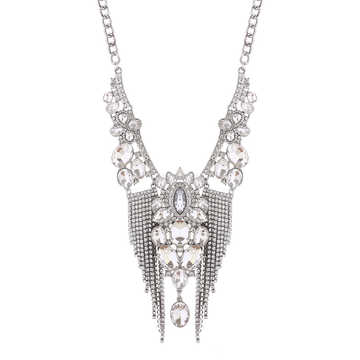 Occident and the United States alloy Diamond necklace (white)NHNMD3844-white