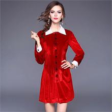 2018春季新款歐洲站品牌女裝襯衫式裙子長袖翻領紅色絲絨連衣裙