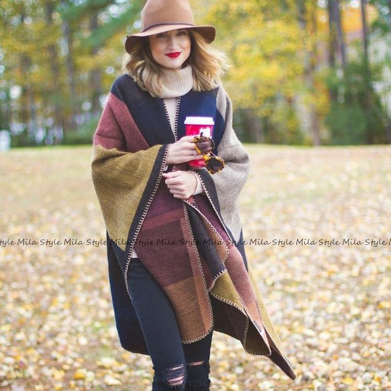 秋冬围巾百搭格子女士旅行披肩仿羊绒欧美外贸民族风开叉加厚斗篷