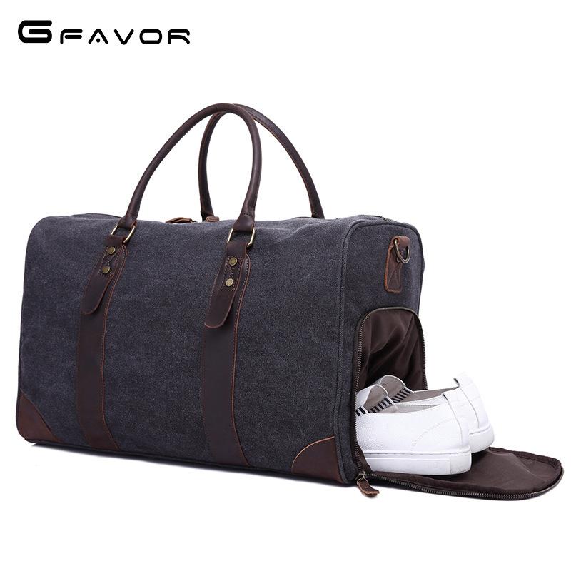 工厂直销旅行包帆布配皮大容量复古横款手提斜跨旅行袋男女包新款